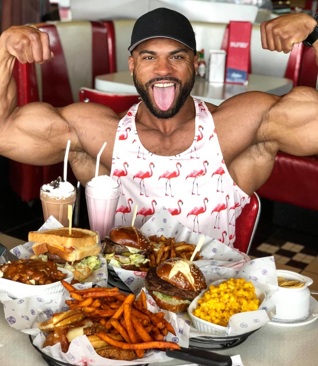 Henri Pierre Jukebox Burgers Fan Eating Burgers And Flexing