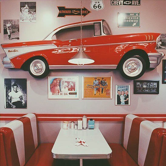 Jukebox Burgers Interior Look Retro Booth With Car Hanging On Wall Red Retro Feel Montreal Dinner Burger Joint